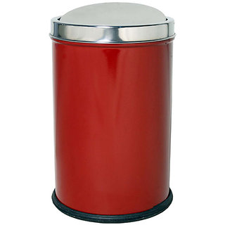 HMSTEELS Stainless steel Swing Bin Dustbin Plain Red Color 16 Ltr(25  37 cm)