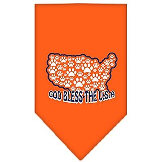 Mirage Pet Products God Bless USA Screen Print Bandana for Pets, Large, Orange