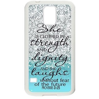 Bible Verse Phone Case TPU Case Cover for Samsung Galaxy S5 - Blue