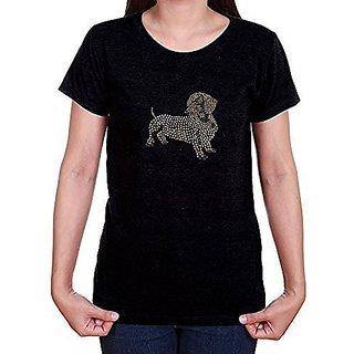 LYN DORF Dachshund Dog T-Shirt, X-Large, Black