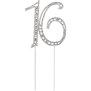 Pixnor Sweet 16 Cake Topper Rhinestone Number Sixteen 16th Birthday Party Decoration Silver