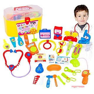 Pretend & Play Doctor Set for Kids Stethoscope Simulation Toolbox Medicine Chest 30 Pieces