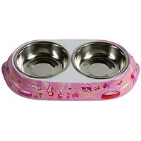 Fabulous Feline Double Bowls Wti Stainless Steel Inserts The Fabulous Pussycat Haute Couture Food And Water Bowls