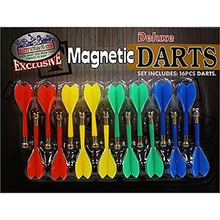 Deluxe 16 Piece Magnetic Replacement Darts with Plastic Wings in Red, Blue, Green & Yellow -