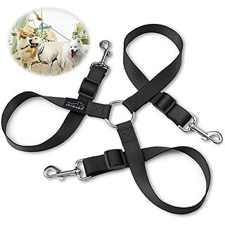 3 Dog Leash Coupler, PETBABA 30-50cm/1-1.6FT Length Adjustable Training Dog Lead for 3 Dogs Black