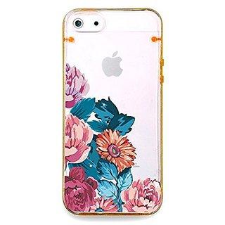 Vintage flower rose, floral clear bumper hard cover case for iPhone 5s / 5 (Orange)