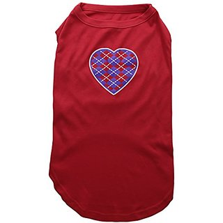 Mirage Pet Products Argyle Heart Purple Screen Print Shirt Red XXXL (20)