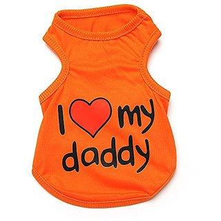 Pet Dog T-shirt I Love My Daddy Puppy T Shirt Orange (Medium)