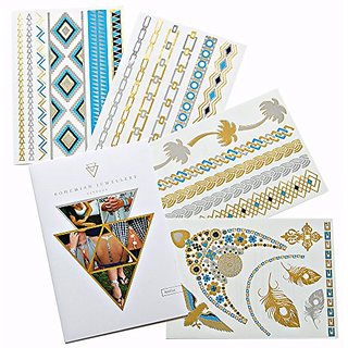 Bohemian Jewelry Tattoos Nahla - A Luxury Collection of 4 Premuim Jewelry Inspired Temporary Tattoos Sheets