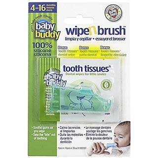 Baby Buddy Wipe N Brush Silicone Toothbrush and Dental Wipe Assistant, Green