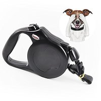 Retractable Dog Leash For Large Dogs, Supports To 110 Pounds Nylon Ribbon Extends Up To 26 Feet (Black)