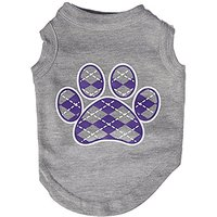 Mirage Pet Products Argyle Paw Purple Screen Print Shirt Grey Sm (10)