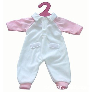 Mingao 16 Inches High Simulation Baby Dolls Clothes Pink and White Rompers Suit