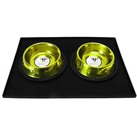 Platinum Pets Heavy-Duty Silicone Feeding Puppy Mat With 2 6-Ounce Embossed Puppy Bowls, Corona Lime