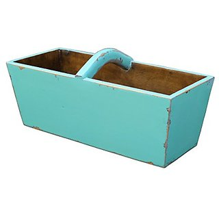 Antique Revival Ella Planter Bucket, Turquoise