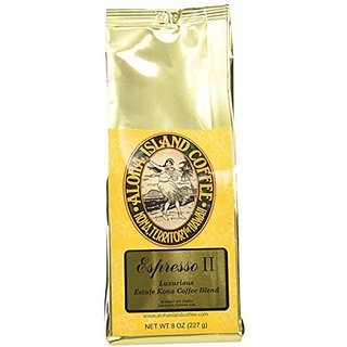 Aloha Island Coffee Espresso Organic Kona Coffee Blend, 8 Oz Ground, 8-ounces
