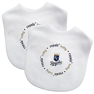 Baby Fanatic White Color Bibs, Kansas City Royals, 2-Count MLB Infant Bib