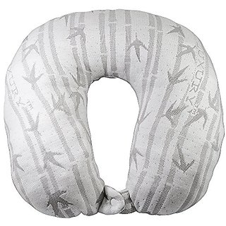 Bamboo Travel Pillow for neck by Amadora. This neck pillow will help reduce neck pain and help you sleep better during y
