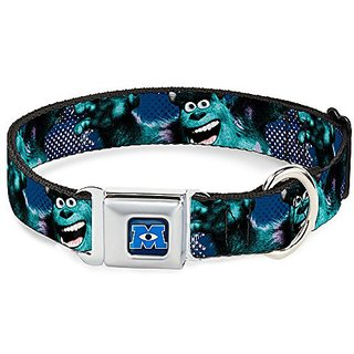 Disney Sulley Scare Pose/Dots Blue/White Buckle Clip Dog Collar, 1