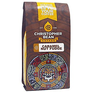 Christopher Bean Coffee Decaffeinated Whole Bean Flavored Coffee, Caramel Nut Fudge Truffle, 12 Ounce