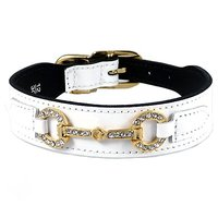 Hartman & Rose Holiday Crystal Bit Dog Collar, 14 To 16-Inch, White Patent