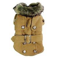 Pet Cat Dog Clothes European Woolen Fur Collar Coat Small Dog Cat Pet Clothes Costume Beige M