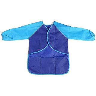 Fenical Waterproof Artist Apron Smock Painting Apron with Long-sleeve for Children Kids (Blue)