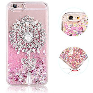 Iphone 6s plus case, iPhone 6 plus Liquid case, 3D Free Flowing Glitter Sparkle Love Heart Sequins with Luxury Floral Ma