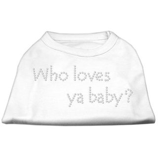 Mirage Pet Products Who Loves Ya Baby Rhinestone Pet Shirt, Medium, White