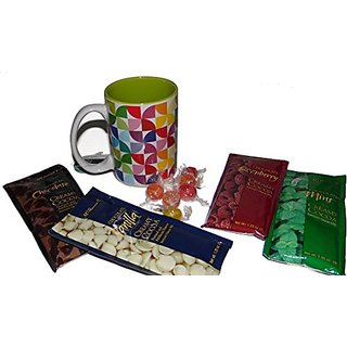 Gourmet Assorted Cocoa Mixes Happy Birthday Gift Set in a Colorful Design Coffee Mug - 4 flavors: Chocolate Mint, Chocol