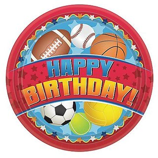 Hanna K. Signature Collection 36 Count Birthday Sports Paper Plate, 7-Inch