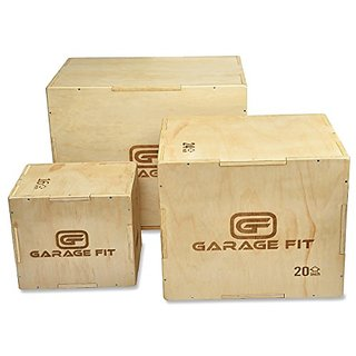 3 in 1 Wood Plyo Box - 20/24/30 inch Plyometrics Box - great plyo boxes for Cross Training, MMA, Aerobic, or Plyometric