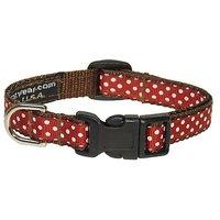 Sassy Dog Wear 6-12-Inch Rust/White Polka Dot Dog Collar, X-Small