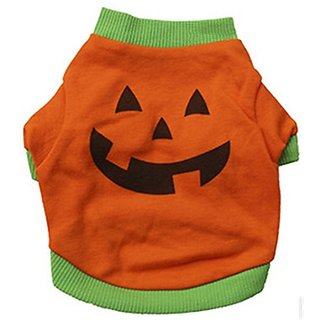 Scheppend Summer Halloween Pumpkin Lovely Cotton T-shirt Teddy Dogs Clothes Pet Supplies Orange