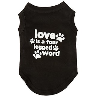 Mirage Pet Products Love is a Four Leg Word Screen Print Shirt Black Med (12)