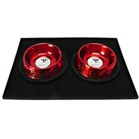 Platinum Pets 1 Cup Embossed Non-Tip Stainless Steel Puppy Bowls With Black Feeding Mat, Candy Red