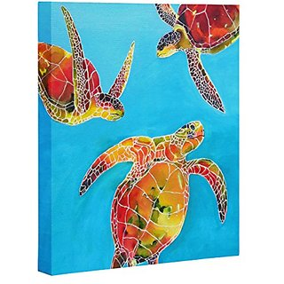 DENY Designs Clara Nilles Tie Dye Sea Turtles Art Canvas, 16