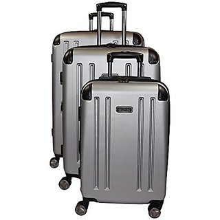 Kenneth Cole Reaction 8 Wheelin Expandable Luggage Spinner Wheeled Suitcase, 3 Pc Set , 29, 25 & 20-inch (Light Silver)