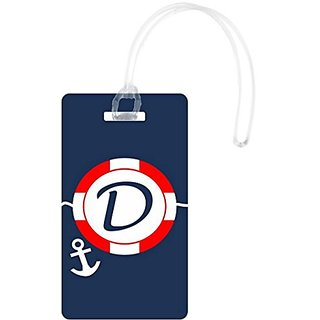 Rikki Knight D Initial S.O.S Red On Anchor Monogrammed Luggage Tags, White