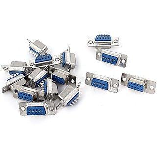 DB9 9-Pin 2-Row Female Plug Computer VGA Cable Connector Adapter 15Pcs