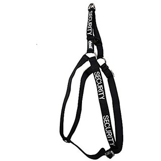 SECURITY Black Color Coded Neoprene Padded Non-Pull Harness PREVENTS Accidents By Warning Others Of Your Dog In Advance