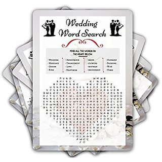 Wedding Word Search/Word Find Game - 50 SHEETS - Perfect For Bridal Shower, Engagement Party, Wedding Day Fun and Games