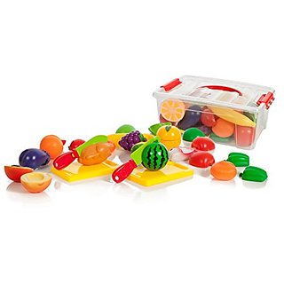 Cutting Food Playset for Kids, Fruits ,Vegetables, Fish, and more plus a Cutting Board Play Set in a storage container (