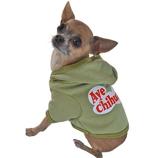 Ruff Ruff and Meow Dog Hoodie, Aye Chihuahua, Green, Small