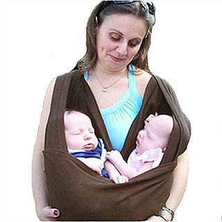 NAVA Baby Sling Carrier Baby Twin Toddler Pouch Wraps Carrier (Brown)