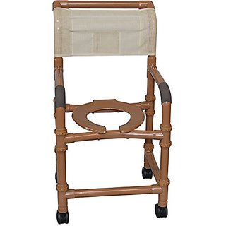 MJM International WT118-3TW-DDA-SF-SQ-PAIL Wood Tone Standard Shower Chair with Drop Arms, Footrest and Pail, 300 oz Cap