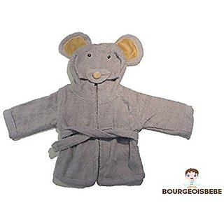 BourgeoisBebe Mouse Hooded Woven Organic Terry Cotton Baby Towel - Luxuriously Soft - Designer Quality
