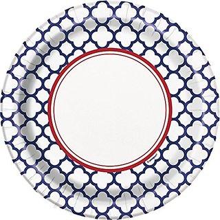 Hamptons Navy Quatrefoil Dessert Plates, 8ct
