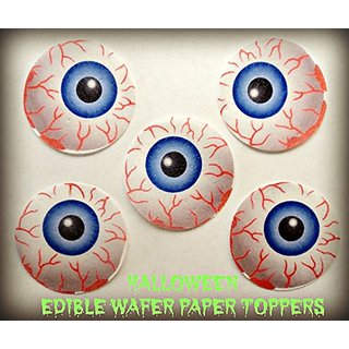 12 HALLOWEEN SCARY BLOODSHOT MONSTER EYEBALLS EYES Decorative Wafer Paper Toppers Cakes Cupcakes