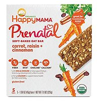 Happy Baby Happy Mama Prenatal Organic Soft-Baked Oat Bars Pregnancy Snack, Carrot/Raisin/Cinnamon, 5 Count